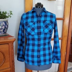 J. Crew Blue and Black Check Flannel